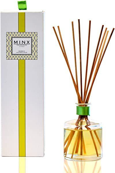 MINX Fragrances Bamboo Aromatherapy Oil Reed Diffuser Gift Set Green Citrus Orchid Jasmine Musky Amber Air Freshener For The Home Or Office Great Decor Or Gift Idea