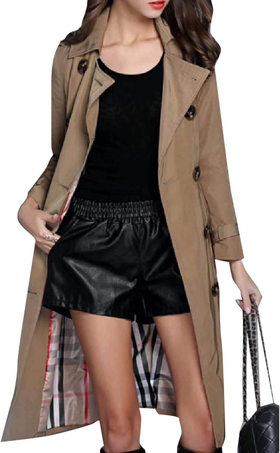 Cobama Womens DoubleBreasted Maxi and Midi Windproof Duster Coat