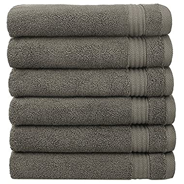 Cotton Paradise 2018 (New Collection) Luxury Hotel & Spa Collection 100% Combed Cotton and Eco-Friendly, Oversize 16'x28' Extra Large Hand Towel Set,Set of 6 (Charcoal Grey)