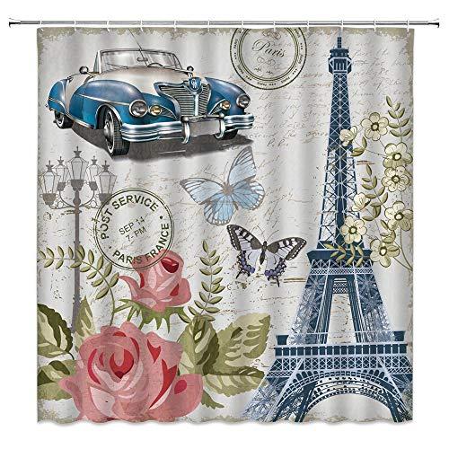 Duschvorhang Eiffelturm Vintage Retro Blau Old Car Pink Rose Blume Stempel Antik Auto Grün Blätter Schmetterling Rmantic Paris Decor Badezimmer Gardinen Stoff 178 x 177,8 cm mit Haken