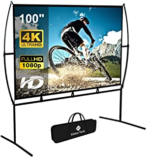 Projector Screen with Stand Foldable Portable Movie Screen 100 Inch(16:9), HD 4K Double Sided Projection Screen Indoor Out...