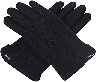 CACUSS Women's Winter Wool Knit Gloves Touchscreen Texting Finger Tips with Warm Fleece Lining