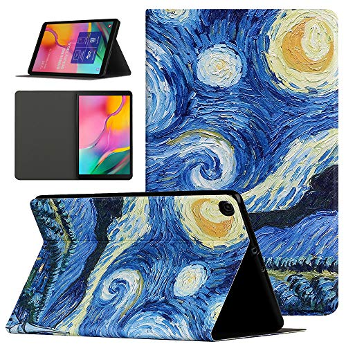 Samsung Galaxy Tab A 10.1 2019 Case, Pudazvi Premium PU Leather Multi-Angle Viewing Smart Shell Cover Case for Samsung Galaxy Tab A 10.1-inch Tablet SM-T510/T515/T517,Starry Sky Painting