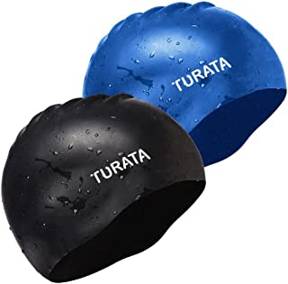TURATA Swimming Cap 2 Pack Swim Caps Waterproof Unisex Premium Earmuffs Silicone No-Slip Swimming Hat for Adults Kids Woman and Men One Size Hat - Black & Blue