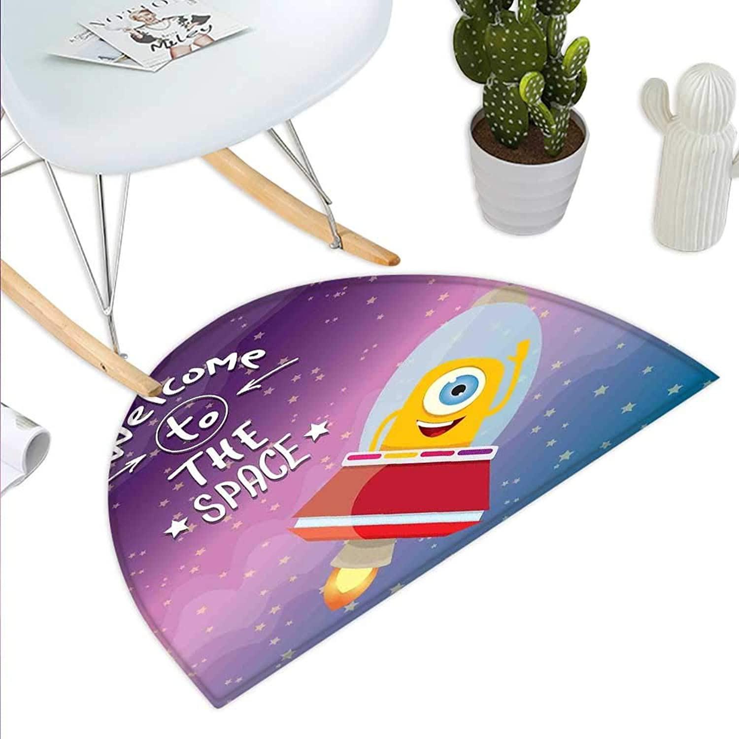 Outer Space Semicircle Doormat Welcoming Quote Print with Retro Style Mascot Vessel Traveling in Milky Way Halfmoon doormats H 43.3  xD 64.9  Purple bluee