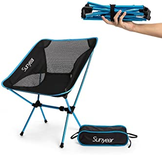 Sunyear Lightweight Compact Folding Camping Backpack Chairs, Portable, Breathablem Comfortable, Perfect for The Outdo...