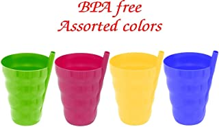 Green Direct Cup With Straw 10 oz. Plastic Cup with Built in Straw for Kids Assorted Colors Pack of 4