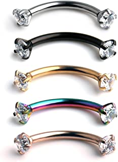 16G Clear Cubic Zirconia Internally Thread Curved Barbell Eyebrow Tragus Ring Piercing Jewelry 6-10mm