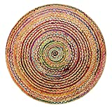 Cotton Craft Jute & Cotton Multi Chindi Braid Rug, Hand Woven Reversible, 4-Feet, Colors may Vary