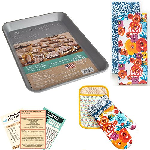 The Pioneer Woman Flea Market Kitchen Towels, Oven Mitt, Pot Holder & Pionner Woman Timeless Floral Quarter Sheet Cake Pan 8 Piece Bundle Set with 3 Recipe Cards