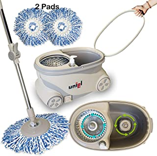 UNIEL Spin Mop and Bucket Microfiber Mop Easy to Move 360 Floor Cleaning System (Power Spin)
