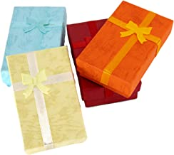 TRIXES 12 X Jewellery Gift Box - Elegant Bow Gift Boxes Rectangular Bow Gift Boxes For Jewellery Presentation with Foam Insert