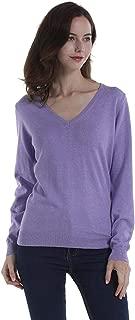 DEEBAI Women's 100% Cotton V Neck Sweater Soft Long Sleeve Knit Pullover Sweatshirt