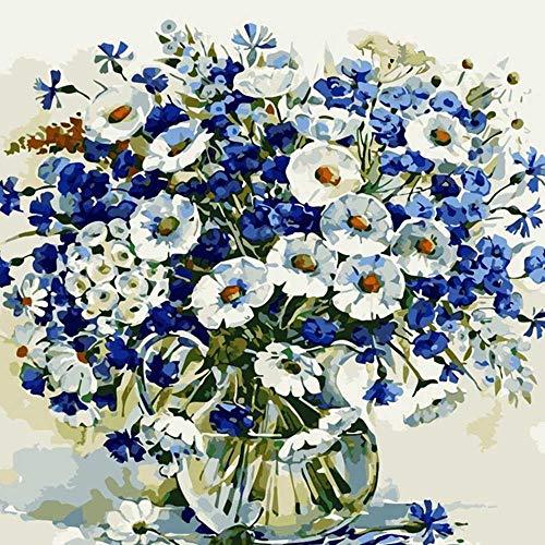 YSNMM Blauw Chrysant Bloem Diy Digitale Schilderen Door Getallen Moderne Muur Kunst Canvas Schilderij Gift Kinderen Home Decor