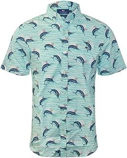 Vineyard Vines Men's Short Sleeve Slim Fit Button Down Whale Shirt (Pool Side Marlin Print, Small)