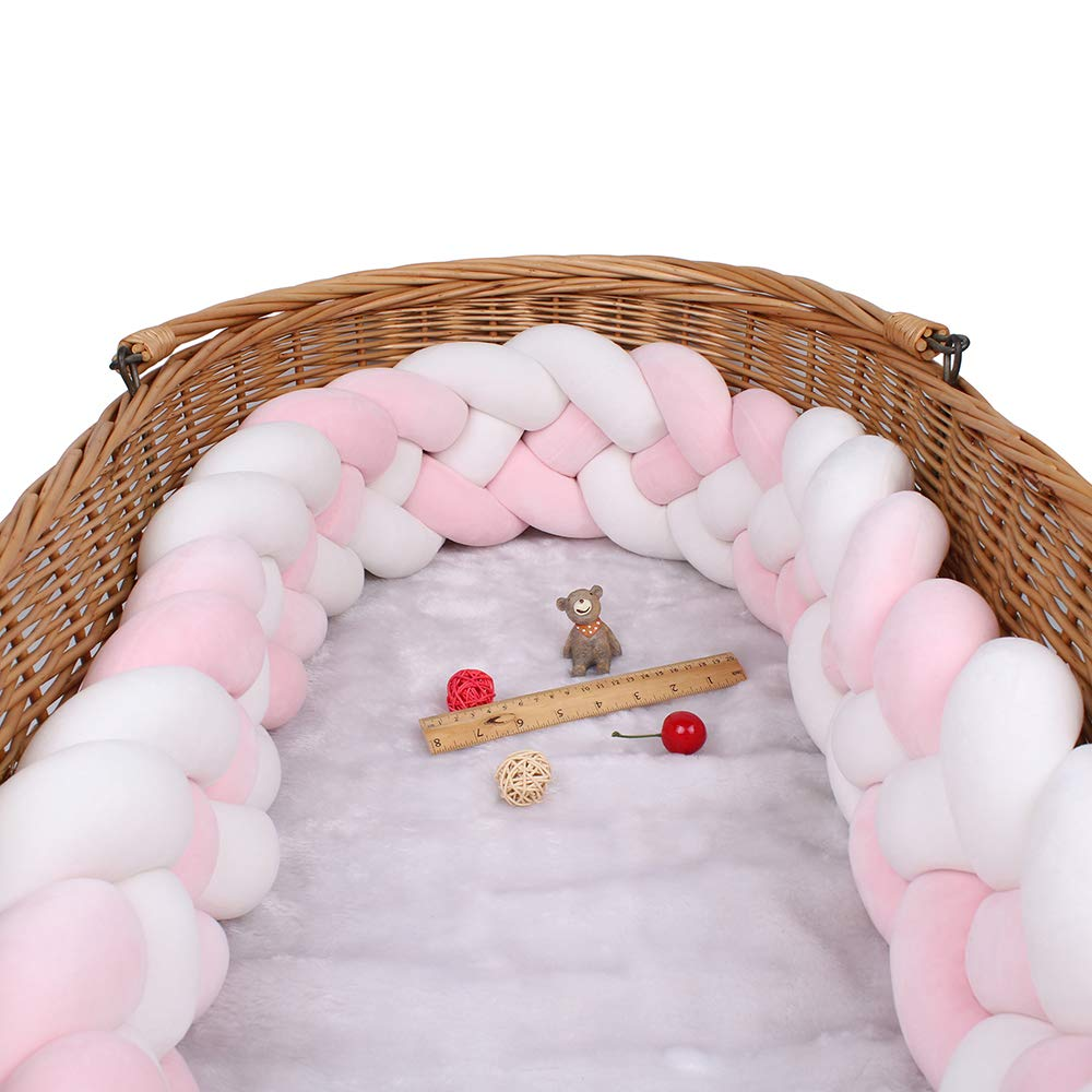 Baby Bedside Sides Protector 4 Knotted 15cm Height Braided Baby Crib Bumper for Bed Rail