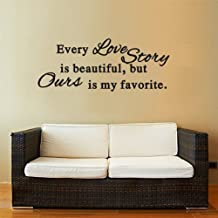 DNVEN 30 inches x 15 inches DIY Every Love Story is Beautiful Quotes Graphic Wall Decals Stickers Removable Vinyl Arts for Bedrooms Family Playroom Girls Room