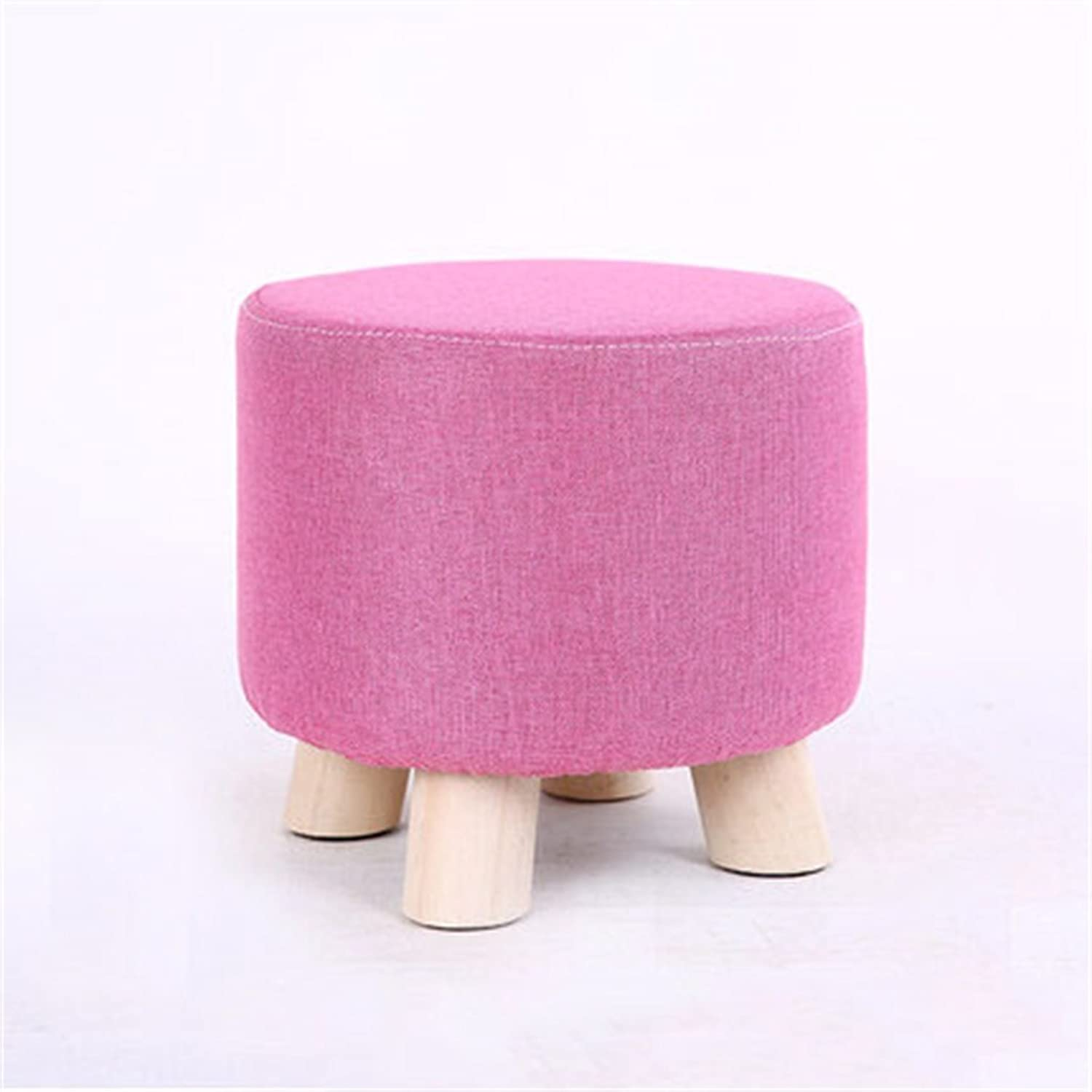 Upholstered Footstool Fabric Fashion Modern Coffee Table Stool Home Creative Living Room Solid Wood Washable Design Cotton Linen Material Pine Legs Solid Wood Frame Round Size  28cm × 25cm