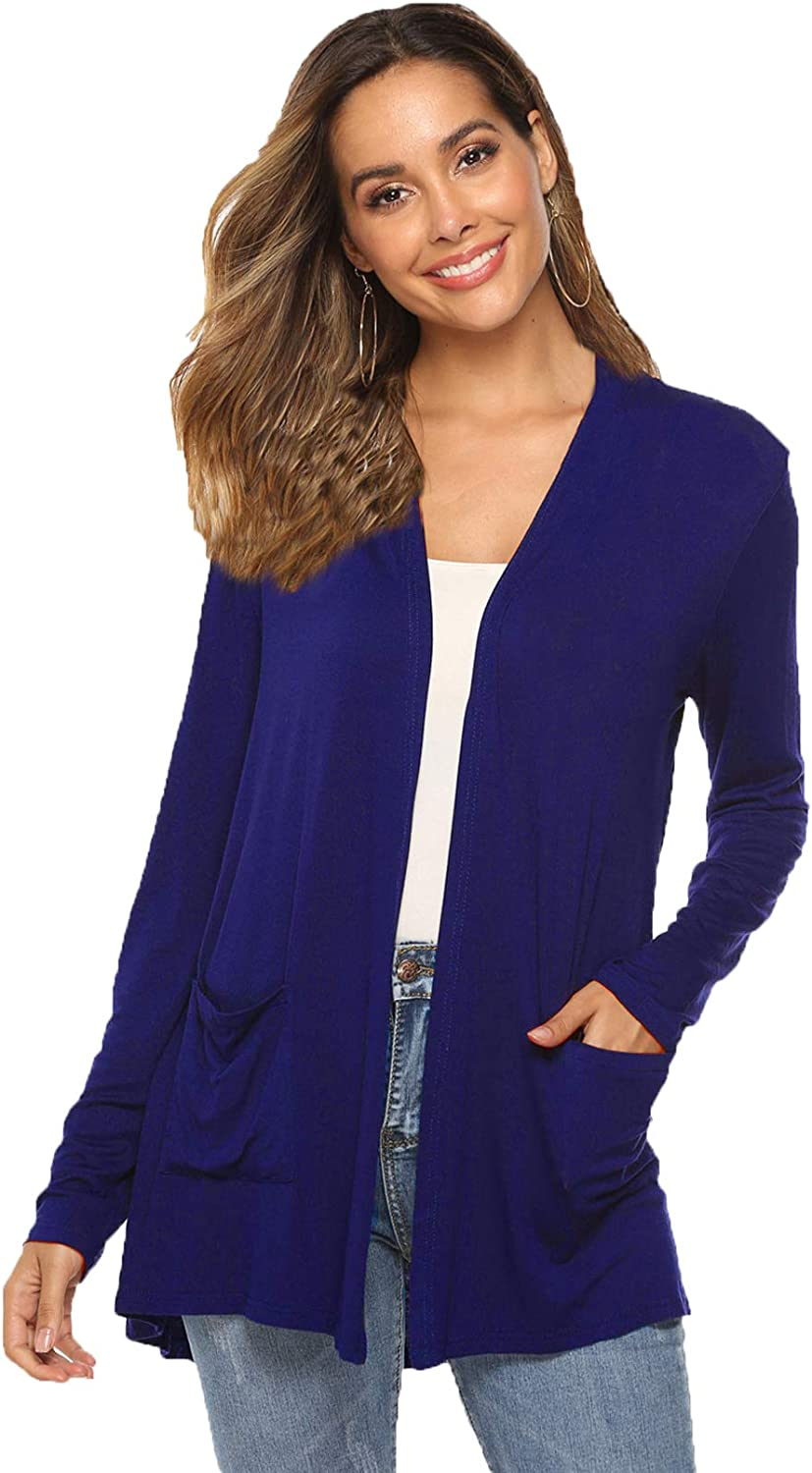 Women's Casual Lightweight Open Front Long Sleeve Cardigans with Pockets