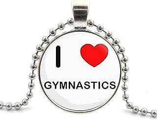 LEO BON Gymnastics I Love Gymnastics Glass Cabochon Pendant Necklace Round Choker Silver Plating Bead Chain Healing Amulet