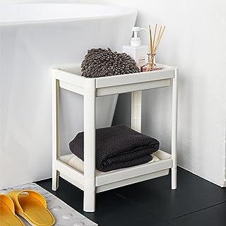 FIRINER 浴室用収納ラック 大容量 ホワイト 2層収納ラック 床置きラック キッチン、調味料収納 多用途 シャワー室収納 軽量 キッチンラック 取付簡単 床置きライプ