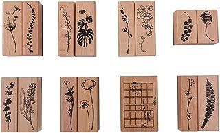 木製 植物 と 花 クリエイティブ スタンプ 15個 セット クラフトカード スクラップブック 手帳 日記