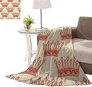 williamsdecor Vintage Red Crown Pattern Soft Cozy Flannel Baby Blanket Soft Warm Plush Cozy Baby Blanket Whale Baby Blanket for Nweborns, 30x40 Inch