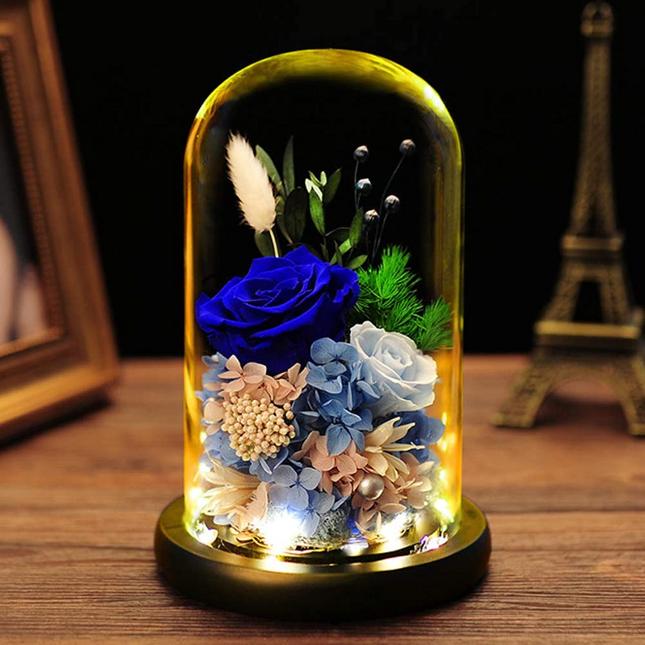 銀行ぐるぐるバンケット永遠の花のガラスカバーのギフトボックス、クリスマス創造的な誕生日プレゼントは、永遠の花は装飾をバラ