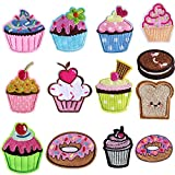 Fantasyon 13 Pieces Cupcake Iron On Patches, Cupcake Embroidered Patches DIY Embroidery Cupcake Patch for Kids Pants Jeans Jacket Clothes, Snack