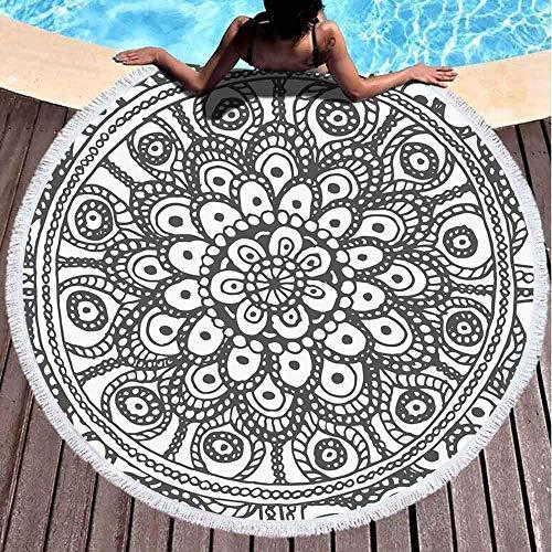 Toallas de playa redondas para niños, fondo de flores redondas, negras y blancas, pintadas para colorear, muchas partes de 152 x 152 cm, toalla de playa grande redonda para niños, mujeres y niños