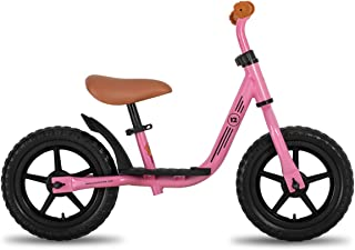 """JOYSTAR 10""""/12"""" Kids Balance Bike with Footrest for Girls & Boys, Ages 18 Months to 5 Years, Toddler Push Bike with Airless Tire and Adjustable Seat Height (Black Blue Green Pink)"""