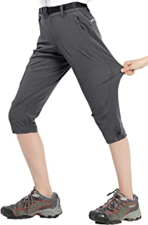 Women's Quick Dry Outdoor Capri Pants Stretch Hiking Cargo Pants with 4 Pockets, Water Resistant and Lightweight