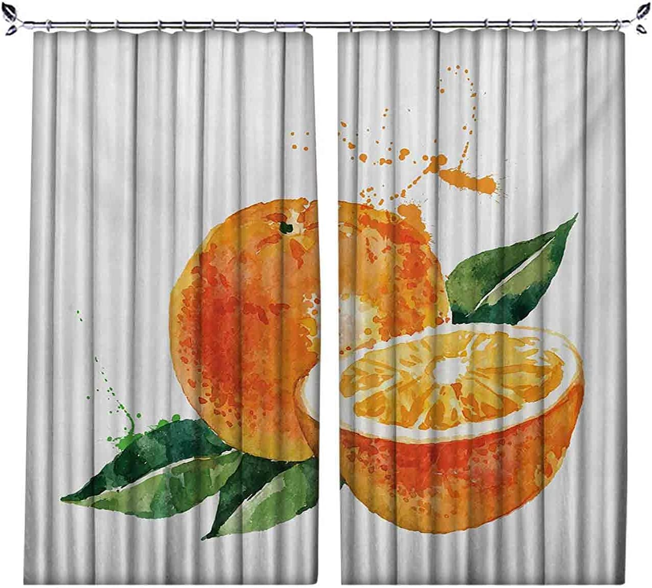 Room Max 72% OFF Darkening Fruit Courier shipping free Curtain Watercolor Y Sweet Stylized Orange