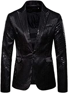 Frecoccialo Men's Jacket Sequins Slim Fit Blazer One Button Tuxedo Lightweight Long Sleeve Shiny Coats for Ceremony, Part...