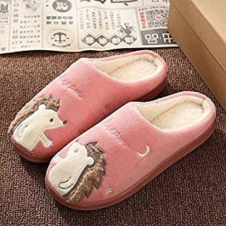 8 Pink Cute Hedgehog Women Winter Home Slippers Cartoon Animal Slip On Soft Winter Warm House Shoes Men Women Slippers Ind...