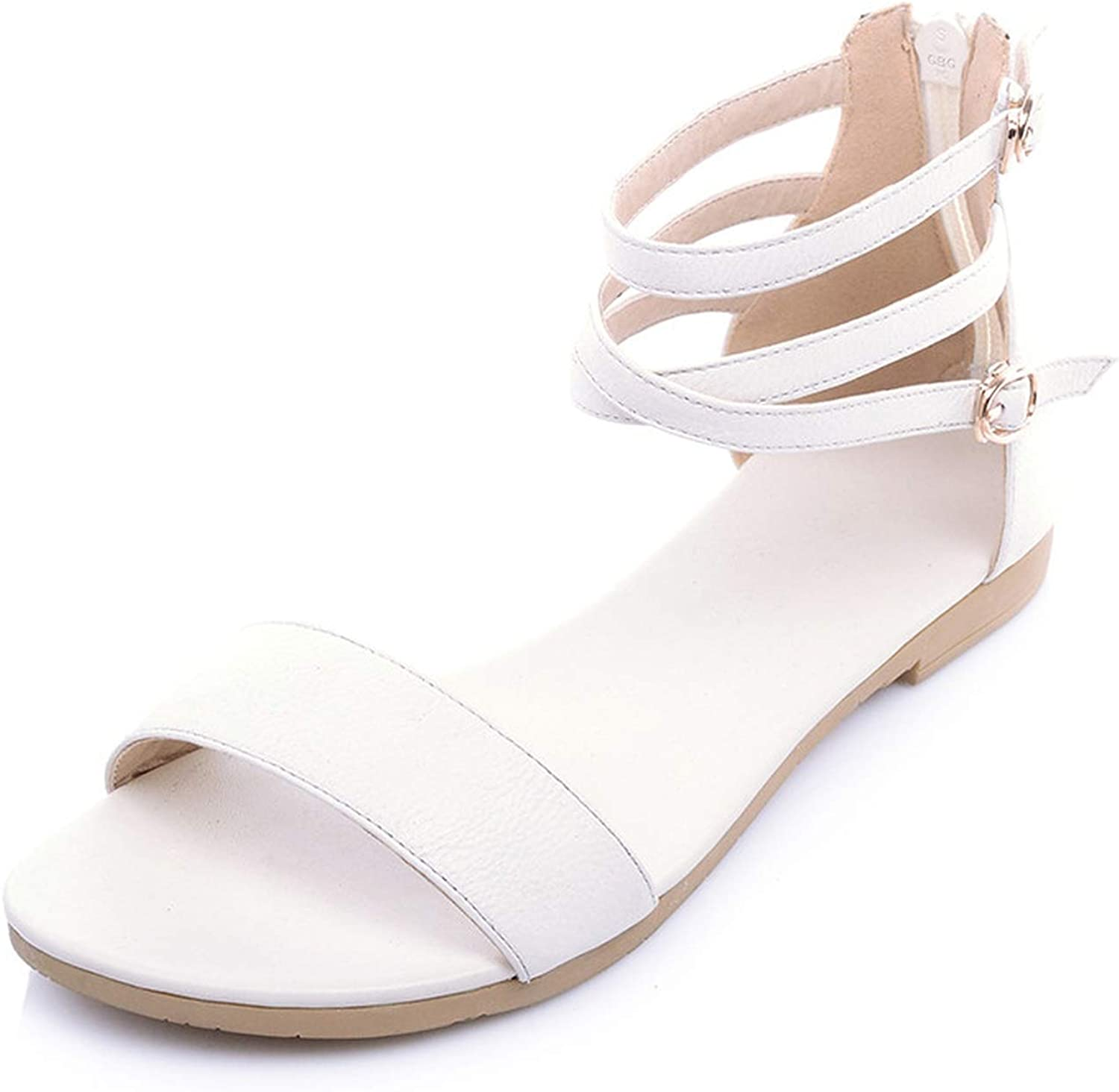 Heart to Hear Summer Arrive Women Sandals Simple Buckle Solid colors Low Heels Lady,