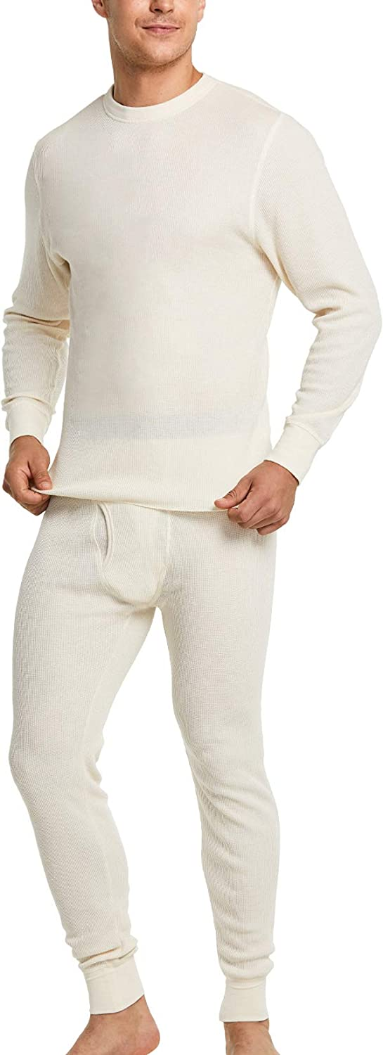 CQR Men's Thermal Underwear Set, Midweight Waffle Knit Thermal Top and Bottom, Winter Cold Weather Long Johns with Fly