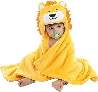 Baby Hooded Bath Towels Animal Bathrobe Fleece Towel Blanket (Lion)