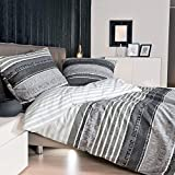 Janine Mako Satin Bettwäsche 155 x 220 cm Satin Bettbezug grau Palermo Bettwäsche grau aus...