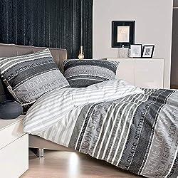 Janine Mako Satin Bettwäsche 135 x 200 cm Satin Bettbezug grau Palermo Bettwäsche grau aus Baumwolle