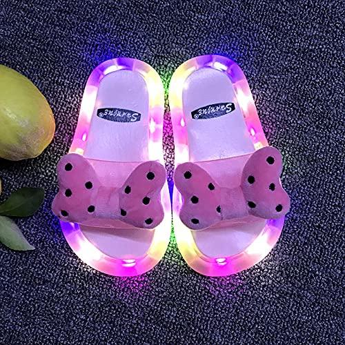 Hawaianas Mujer Chanclas,Los NiñOs Brillan Sandalias, Sandalias Y Zapatillas para NiñOs Led Parpadeando Lindas Luminosas Luminosas No Deslizantes Deslizantes con Luces-EU 24/25 (15 Cm / 5.9')_Rosa