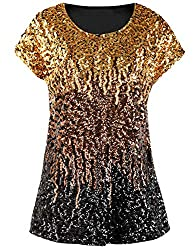 Gold/Coffee/Black Loose Bat Sleeve Party Tunic Tops