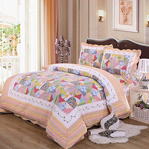 BabycarePro Bedspread Couvre-Lit Quilted Set Couette Matelassé Ensemble Couvre Lit Coton Matelassé, 1 Quilt (230×250cm) 2 Taie d'oreiller (50×70cm)