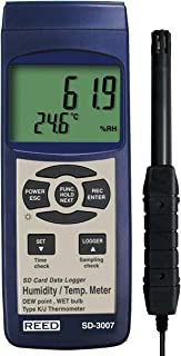 REED Instruments SD-3007 SD Series Thermo-Hygrometer Datalogger, 32 to 112°F (0 to 50°C), 5-95% RH, Wetbulb/Dewpoint Tempe...