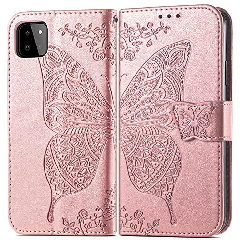 Hious Funda para Samsung Galaxy A22 5G(6.6'), Funda de Cartera de Cuero PU con patrón de Mariposa de Flores, con Hebilla magnética y Soporte para Tarjetas y Cubierta Protectora para muñequera