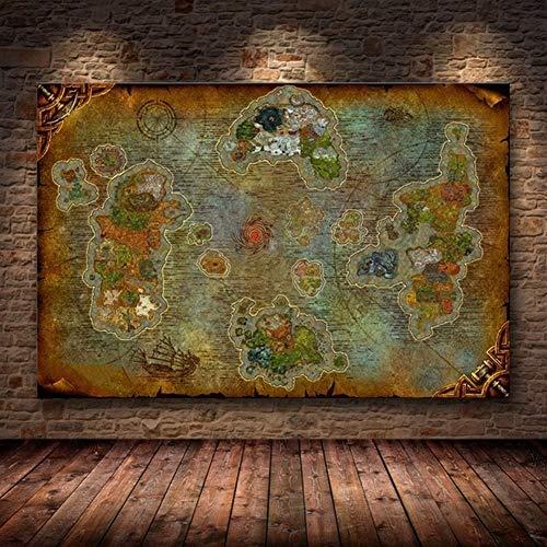 HNTHBZ Unframed Das Poster Dekoration Malerei Von World of Warcraft Karte Auf HD-Leinwand Wandbilder for Wohnzimmer-Ölgemälde JYSLR018 (Size (Inch) : 90X60CM)