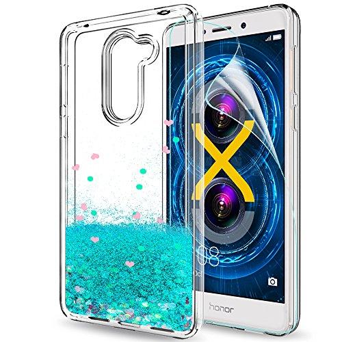 LeYi Hülle Huawei Honor 6X Glitzer Handyhülle mit HD Folie Schutzfolie,Cover TPU Bumper Silikon Flüssigkeit Treibsand Clear Schutzhülle für Case Huawei Honor 6X Handy Hüllen ZX Turquoise