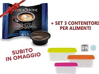 400 Capsule Compatibili Lavazza a Modo Mio Caffe' Borbone Don Carlo Miscela Blu + Omaggio Set 3 contenitori per alimenti da frigo