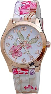Womens Flower Watches,COOKI Unique Analog Fashion Clearance Lady Watches Female Watches on Sale Casual Wrist Watches for Women,Round Dial Case Comfortable Silicone Watch-H17
