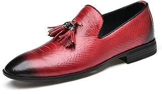 Best-choise Tassel Loafer for Men Pointed Burnish Toe Leather Snakeskin Embossed Low Block Heel Rubber Sole Solid Color Sl...